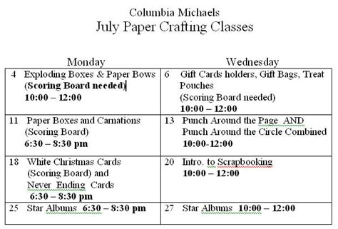 keeping  simple cards july schedule  classes