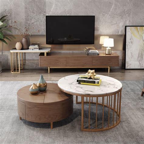 List of best storage coffee tables | coffee table with storage. Modern White & Walnut / White Round Coffee Table with Storage Wood Rotating Marble Nesting ...