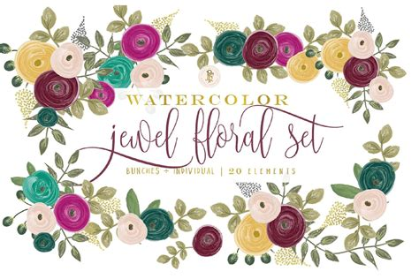 jewel tone watercolor floral clipart  images