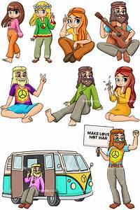 1960s Hippies Cartoon Vector Clipart - FriendlyStock