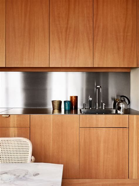 kitchen cabinets no handles neat and clean stainless steel back splash accents sleek 6249
