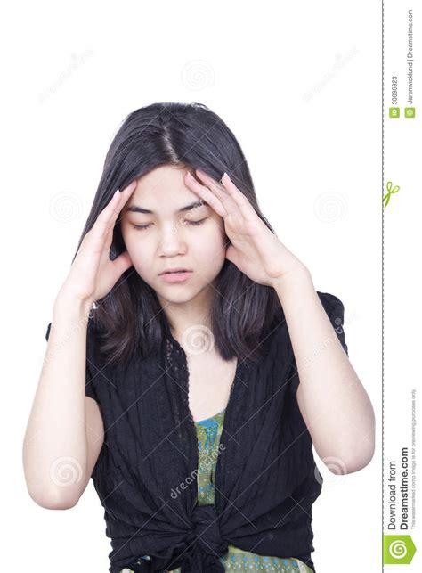 Young Biracial Teen Girl Stressed Migraine Stock Image