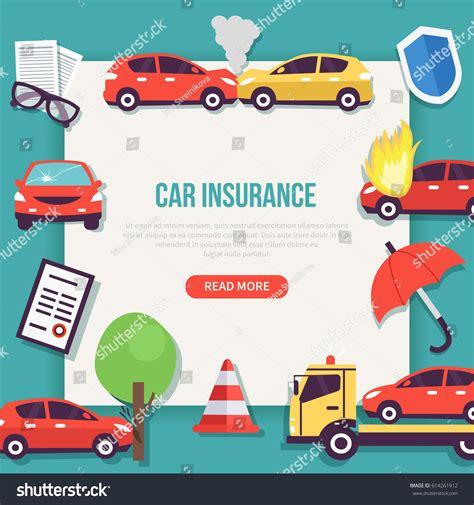 Car Insurance Web Banner Types Insurance Stock Vector