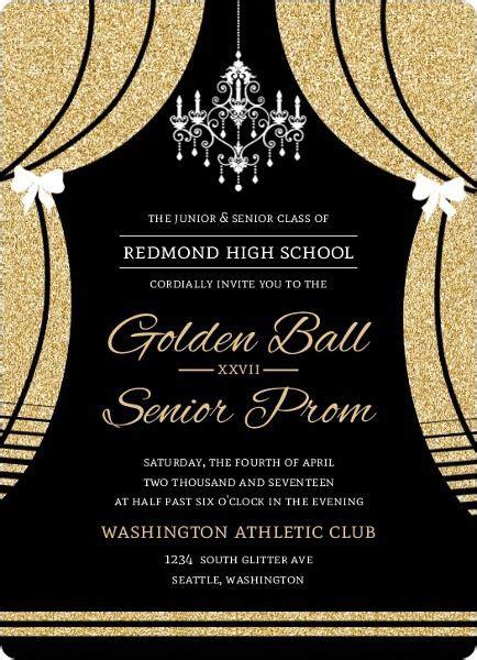 elegant faux gold glitter curtain prom invitation prom