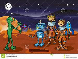 Space Meeting Children-astronauts And Alien Stock Photos ...
