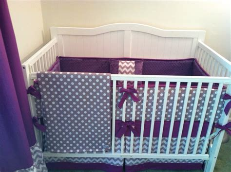 deposit modern gray and purple crib bedding by butterbeansboutique