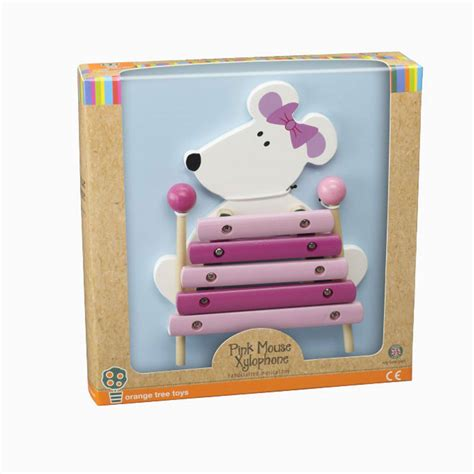 pink  white mouse wooden xylophone musical toy