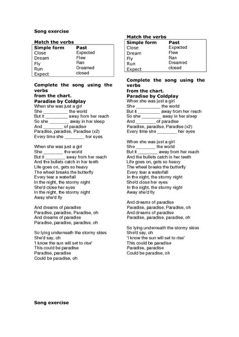 Song Worksheet Paradise By Coldplay (simple Past