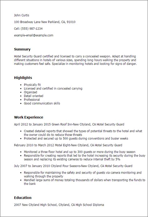 Security Resume Format by Professional Hotel Security Guard Templates To Showcase