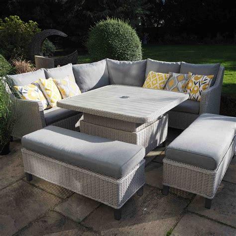 leisuregrow oslo large square modular corner dining set  crank adjustable table garden street