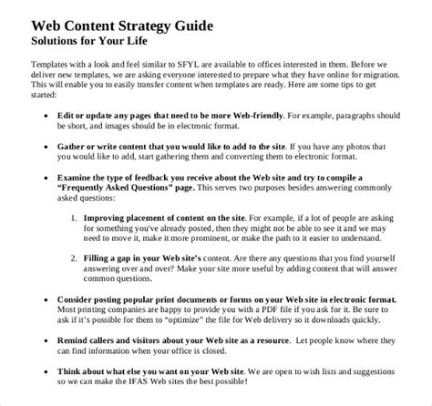 content strategy templates  word excel