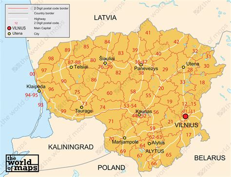 Digital Postcode Map Lithuania 2-digit 88