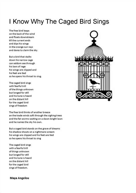 i know why the caged bird sings poem i know why the cage bird sings poetry quotes pinterest