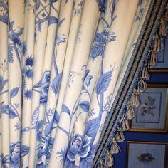 blue white curtains