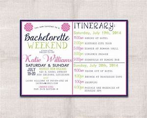 Bachelorette party weekend invitation and itinerary for Bridal shower itinerary template