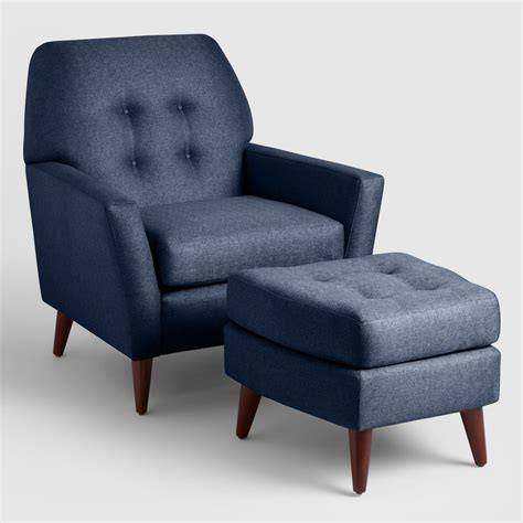 blue chair with ottoman midnight blue tufted arlo chair and ottoman set world market