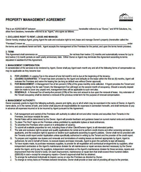 property management agreement template 9 management agreement templates free sle exle format free premium templates