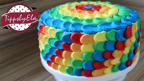 geburtstagstorte selber machen regenbogen torte aus sahne selber machen anleitung bunte torte kinder geburtstagstorte