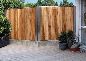 Bambus Sichtschutz Mit Edelstahl : exklusiver bambus zaun als sichtschutz an der terrasse ~ Frokenaadalensverden.com Haus und Dekorationen