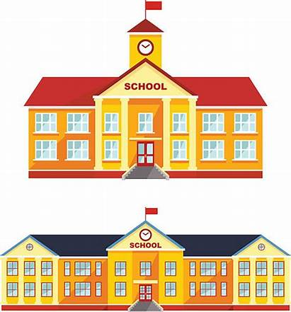 Building Background Schoolhouse Classical Illustration Clip Illustrations