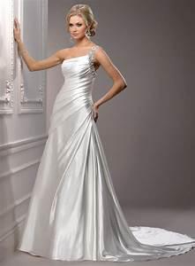 satin wedding dress with one shoulder sang maestro With one shoulder wedding dress