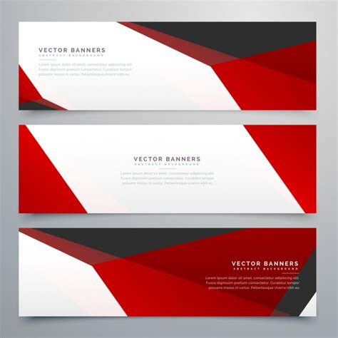 Geometric banners with red polygonal shapes Vector