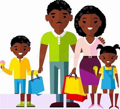 African Shopping American Buyer Concept Woman Children