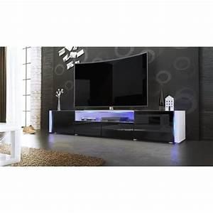 Meuble Tv C Discount : meuble tv blanc et noir sans led achat vente meuble tv meuble tv blanc et noir san cdiscount ~ Teatrodelosmanantiales.com Idées de Décoration