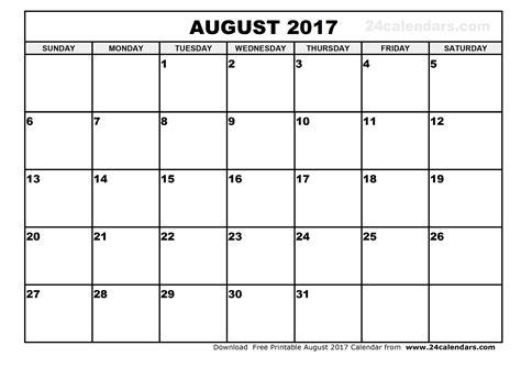 august 2017 calendar excel weekly calendar template