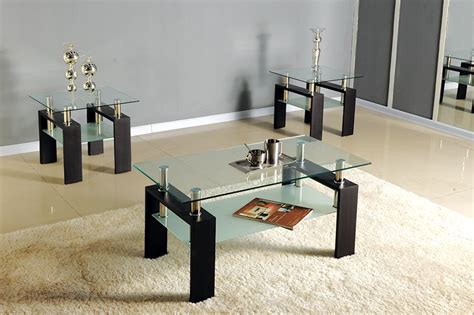 3pc Black /chrome,glass Top Occasional Coffee Table Set W