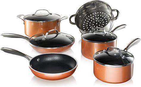 gotham steel copper cast  piece pots  pans set  ultra nonstick diamond surface