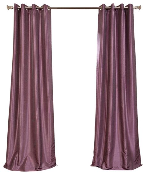 smokey plum grommet blackout vintage textured faux silk