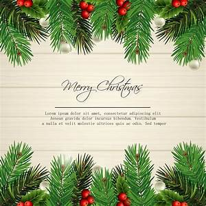 Merry, Christmas, Card, Design, With, Pine, Leaves, On, Wood