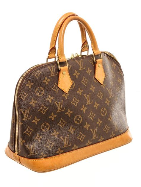 louis vuitton alma monogram mm handbag brown canvas  leather satchel tradesy