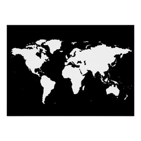 world map black and white black and white world map poster zazzle