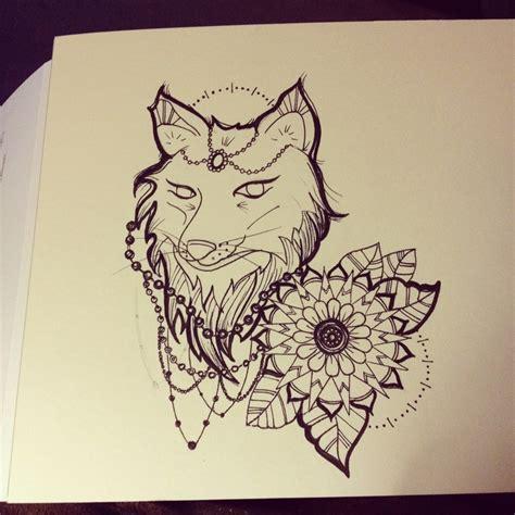 beginnings   tattoo flash fox  mandala tattoo