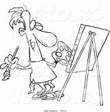 Cartoon Coloring Painting Pages Artist Vector Masterpiece Male Template Superhero Outline Outlined Getdrawings Leishman Ron sketch template