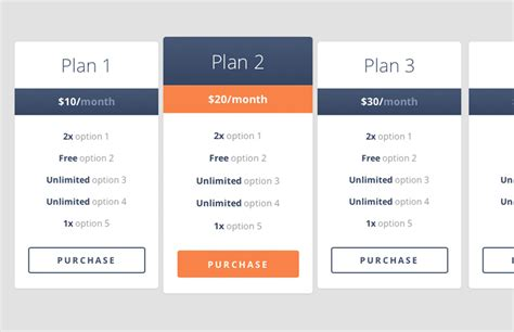 simple mobile plan free coded responsive pricing table medialoot