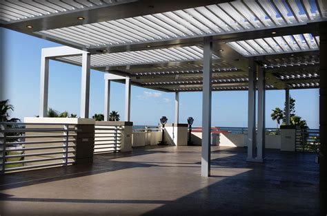 motorized aluminum pergola louver closing roof