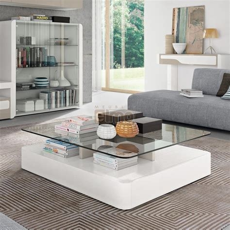 canapé angle destockage table basse design moderne laque plateau verre coins