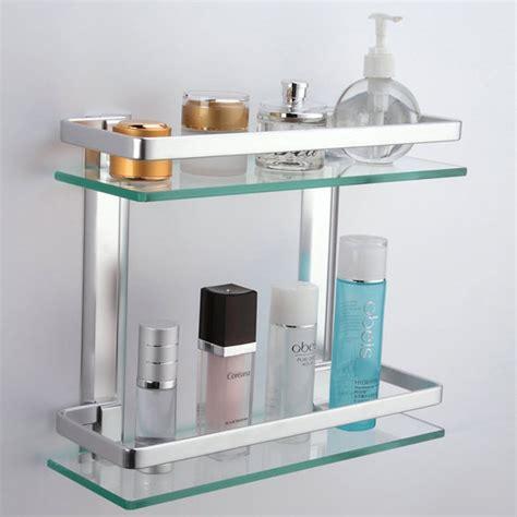 Glass Wall Shelves For Bathroom kes aluminum bathroom glass rectangular shelf wall mounted