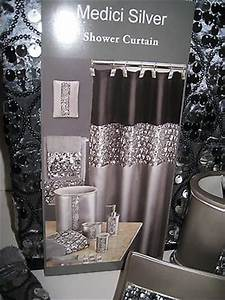 Hollywood glam sequin silver black shower curtain bath for Sequin bathroom sets