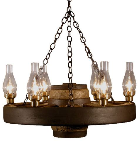 small wagon wheel chandelier chimney lights rustic
