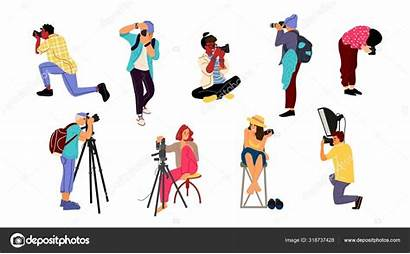 Cartoon Photographers Professional Characters Taking Cameras Vector