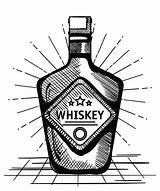 Whiskey Bottle Label Drawn Vector Drink Still sketch template