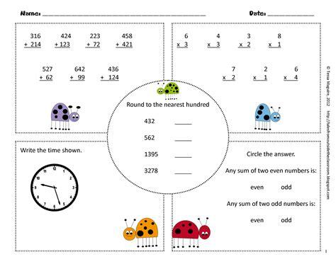 3rd grade math common practice test printable