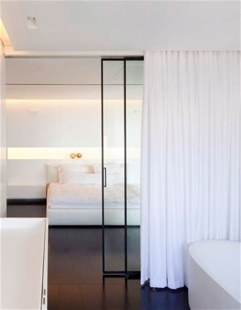 studio living with a sliding door for and curtain