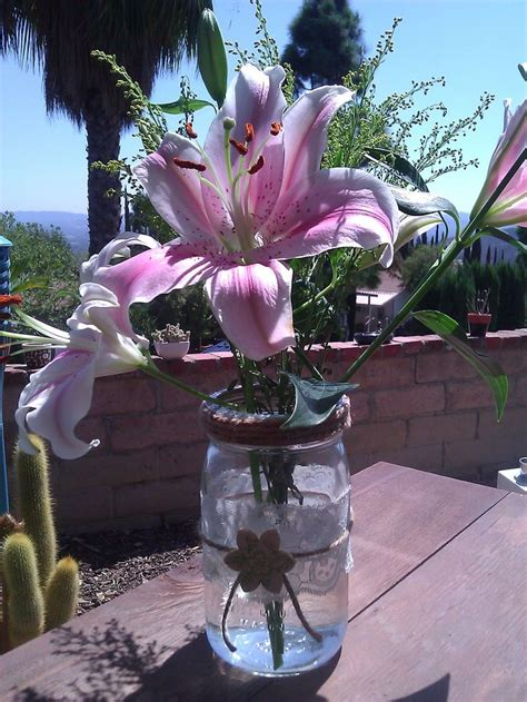 Mason Jar And Stargazer Lilys ~ Christles Creations