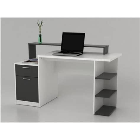 bureau blanc et gris bureau avec rangements zacharie blanc et gris achat