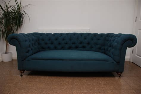 Chesterfield Fabric Sofa by Antique Chesterfield Sofa Settee In Blue Fabric